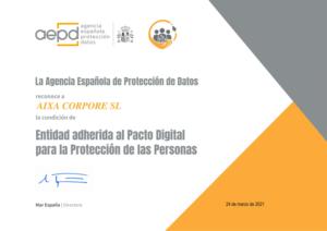 Pacto digital AIXA CORPORE AEPD